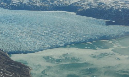 The calving front of a crevassed glacier in Greenland.